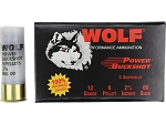 Wolf Power Buck Shot 00 Buck 10 pellet 12 Gauge, 120 Rounds Per Case